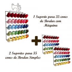 1 Suporte para 35 cones de Bordar com Máquina + 2 Suportes para 35 Cones de Bordar Simples