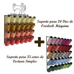 Suporte para 24 Fios de Overlock + Suporte para 35 cones de Costura Simples