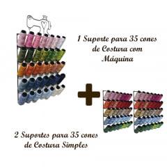 Suporte para 35 cones de Costura com Máquina + 2 Suportes para 35 cones de Costura Simples